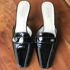 Coach Black Patent Leather Mules Sz 9 Italy EUC